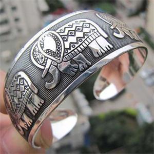 Мода старинные тибетские тибет слон тотем браслеты серебристого металла женщины ювелирные ...