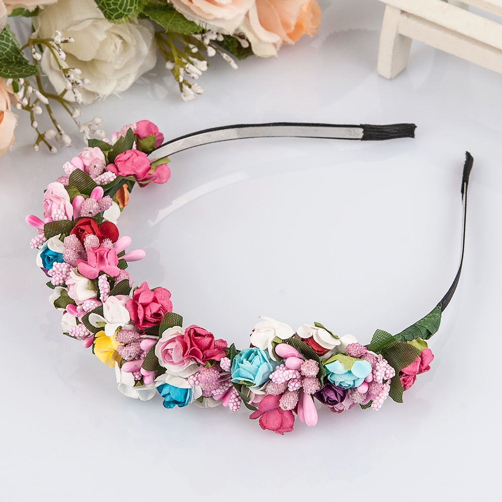 Flower Garland Floral Bride Headband Hairband Wedding Party Prom Festival Decor Princess Floral Wreath Headpiece(China (Mainland))