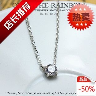 Sparkling zircon top women's necklace chain