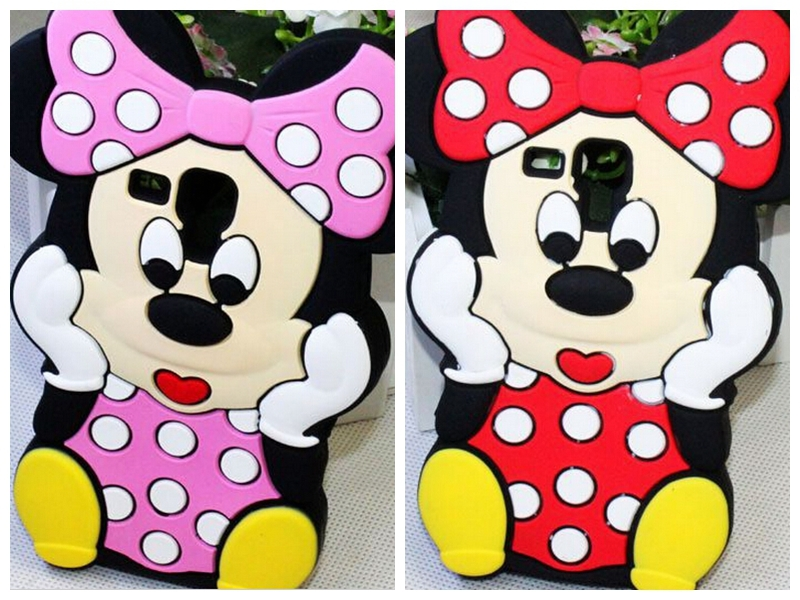 50pcs DHL Free ship 3D Cartoon Bow Minnie Mouse Animal Soft Silicon Rubber Case For Samsung Galaxy Trend Plus S Duos S7562 S7580(China (Mainland))