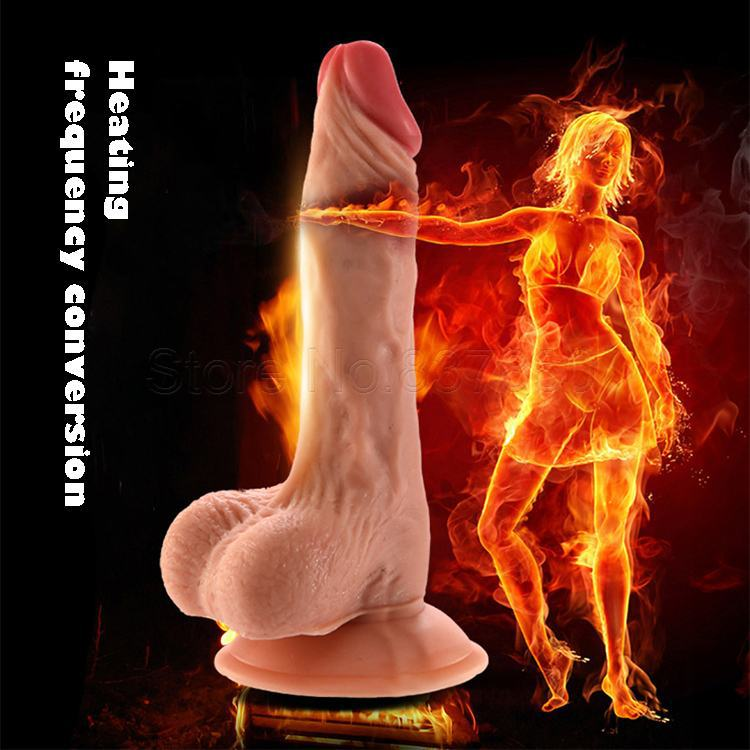 Heated Silicone Huge Dildo With Vibrator Vibrating Penis Dildos Suction Cup Realistic Dick Cock Sex Prosucts Sex Toys For Women