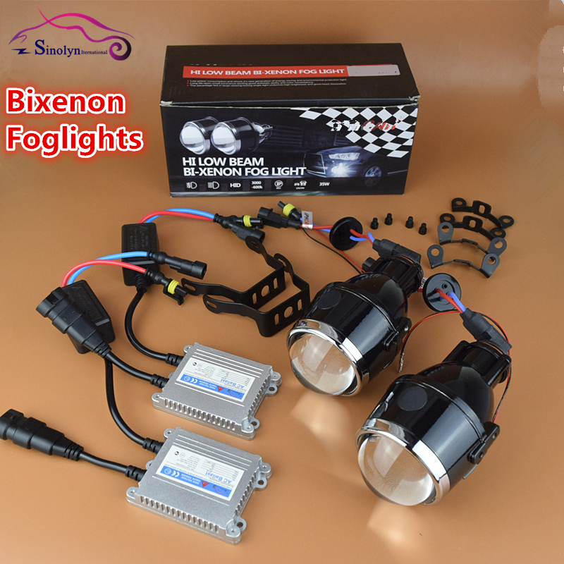 Universal Waterproof Bi xenon Foglights Lens Projector Bifocal Driving Fog Lamps Car Motorcycle Aftermarket Retrofit Hi/Low Kit(China (Mainland))