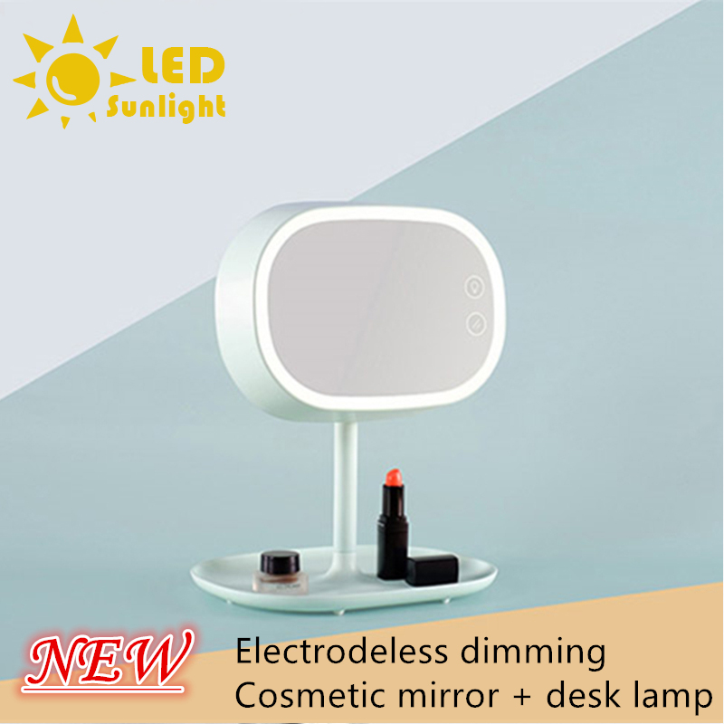 New listing Electrodeless dimming Cosmetic mirror desk lamp With storage function charging Ladies cosmetic mirror lamp table lam<br><br>Aliexpress