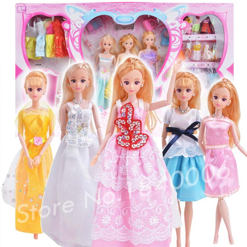 33 Item/Set=3 Dress Princess Doll + 1 baby doll + 23 fabric soft Clothes +6 Accessories luxury Fashion Gift box For Barbie Doll(China (Mainland))