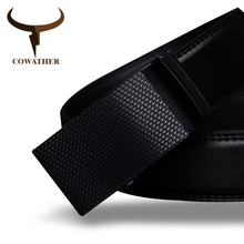 COWATHER Good mens belt luxury high quality cow genuine leather belts for men automatic buckle fashion waist male free shipping(China (Mainland))