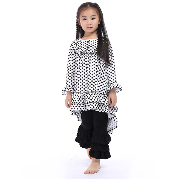 Design Latest Toddler Kids Long Sleeves Clothes Ruffled Pants Set Clothes Girls Outfit Size 1-6Yrd 1set Free Shipping 1set(China (Mainland))