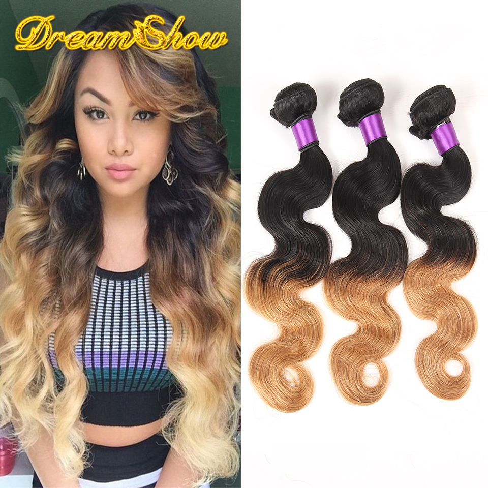 Hot Sale 8A Brazilian Virgin Hair Body Wave Ombre Hair Extensions 3pcs/Lot Brazilian Hair Weave Bundles Ombre Brazilian Hair