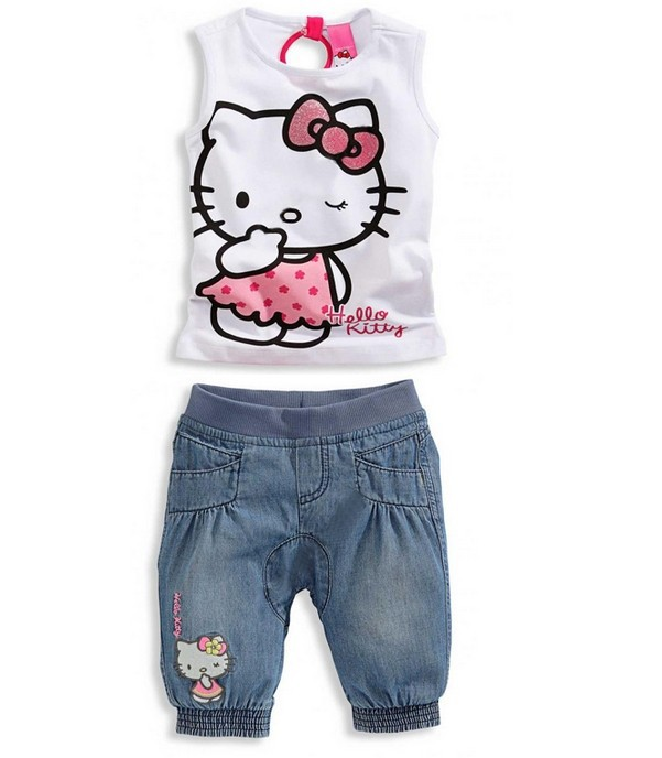 CCS139 Baby girls clothing sets children's clothing set baby girl lovely hello kitty Kids suit free shipping summer style retail(China (Mainland))