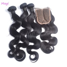 peruvian virgin hair body wave with closure grade 6a virgin human hair 3 bundle hair extension with a closure silky human hair