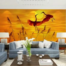 Customized size home decor papel de parede murals flying cranes under sunset nature scenery photo wallpaper mural for wall decal(China (Mainland))