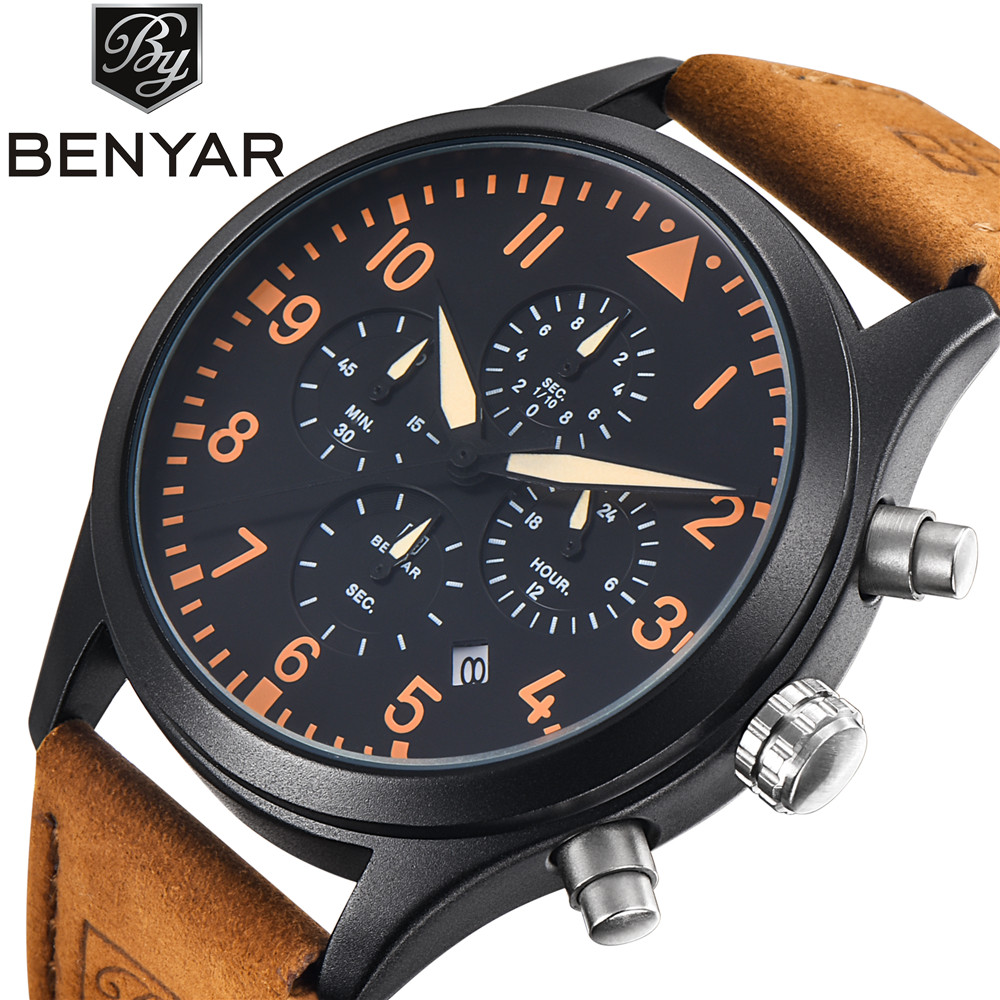 BENYAR Luxury Brand Analog Date Men's Quartz Watch Japan Movement Dive 30M Leather Fashion Casual Watch Cock Relogio Masculino(China (Mainland))