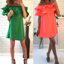 Buy Hot sale 2017 summer dress solid color shoulder women dresses fashion casual sexy dresses vestidos beach dress CDD139 for $8.04 in AliExpress store