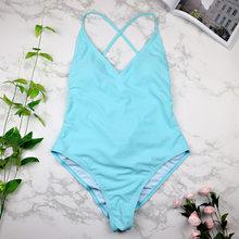 2019 femmes maillots de bain Sexy haute coupe une pièce maillot de bain dos nu maillot de bain noir blanc rouge string maillot de bain femme Monokini 2741(China)