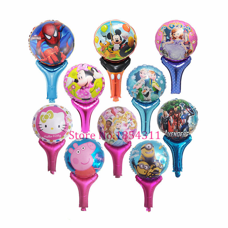 500pcs/lot Minions&Spiderman&Hello Kitty&Sofia&Avengers&Mickey Mouse Cheering Sticks Foil Balloons Inflatable Mylar Ballons Toys(China (Mainland))