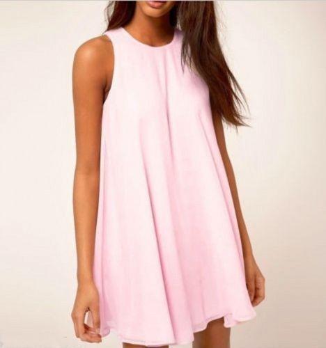 2016 женщины летние платья шифон о шеи без рукавов причинная дамы элегантные Tunique розовый голубой S-XL