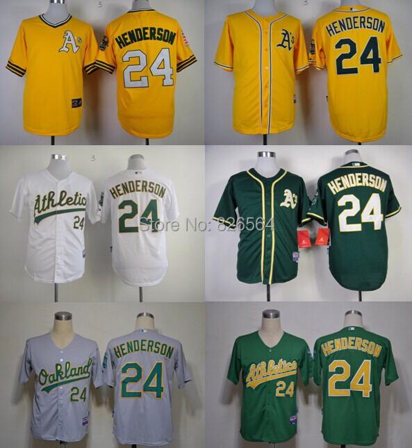 cheap Mens Jersey Oakland Athletics Authentic #24 Ricky Henderson Jersey Stitched Baseball Jersey S-3XL<br><br>Aliexpress