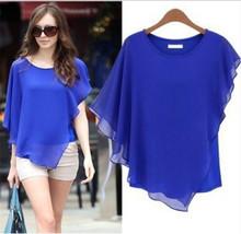 Large size women clothing irregular T-shirt Batwing Sleeve Tops chiffon short sleeve Tees Ruffle Tshirt casual Tops spring TT561