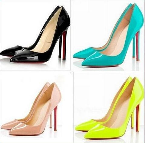 2015 HOT sale Women Pumps Sexy Red Bottom Pointed Toe High Heels Shoes Woman Wedding Party Shoes 222-2(China (Mainland))