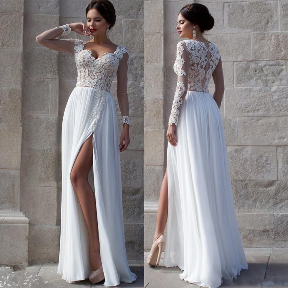 Buy white beach wedding dresses 2015 lace for Lace beach wedding dresses