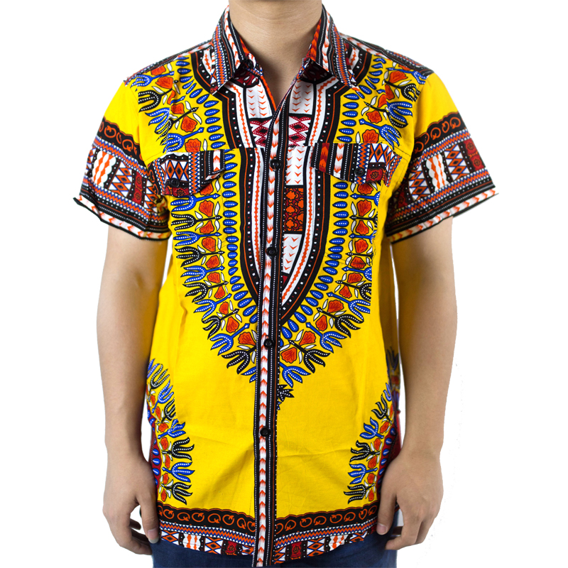 2016Traditional African Clothing for mens Shirt Dress Mens Classic Bazin Riche Dashiki Tops Plus Size Summer Print Blouses(China (Mainland))