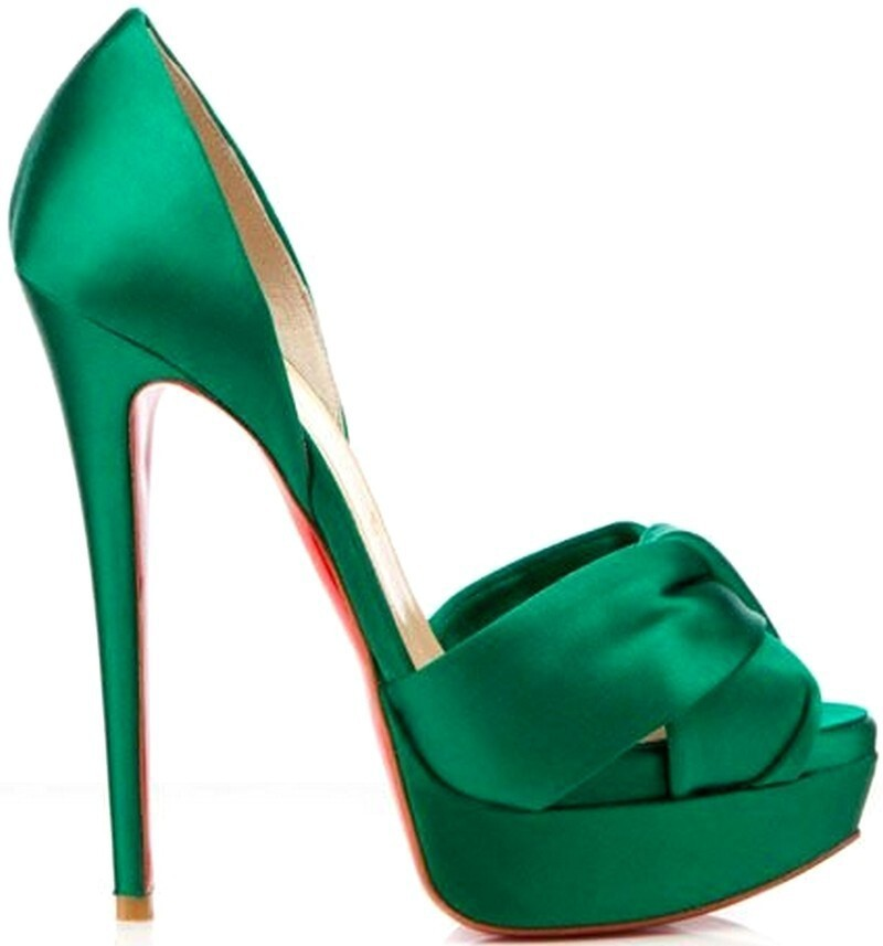 New design peep toes red sole high heels green attractive female sandals big size vernal women party shoes MH174(China (Mainland))