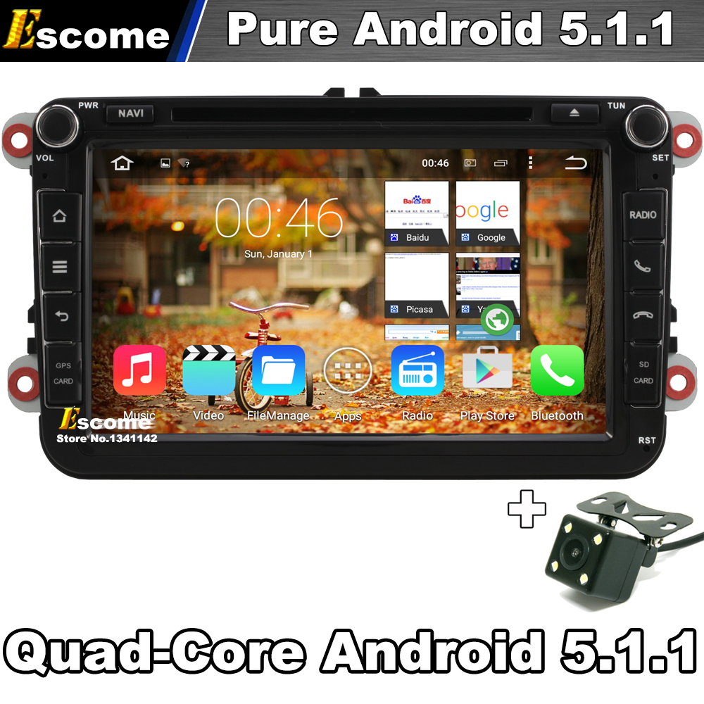 Quad Core Pure Android 5.1 Car DVD GPS For Skoda Octavia Fabia Roomster Yeti Superb Seat Leon Toledo Altea With Camera GPS(China (Mainland))