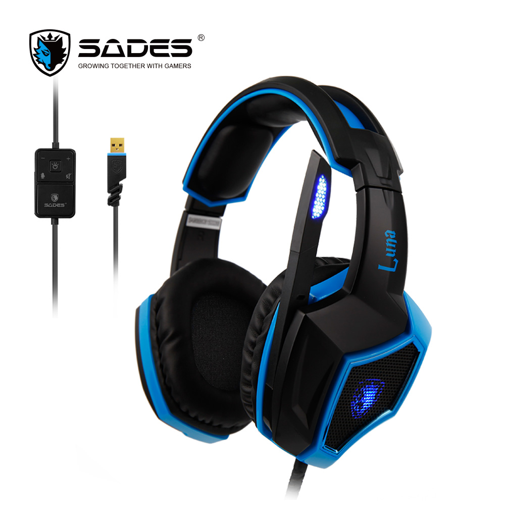 SADES LUNA Virtual 7.1 Surround Sound Rotatable Microphone Cool Iron Mesh Multifunctional In-line Remote Comfortable to Wear(China (Mainland))