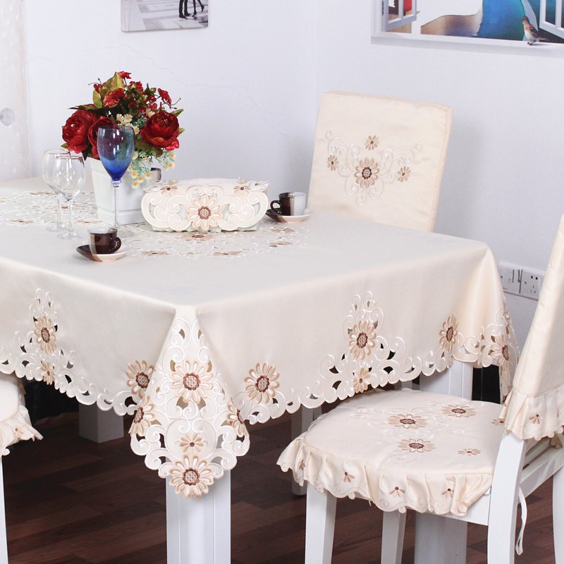European Pastoral Embroidered Tablecloth, Table Runner,Chair Cover, Tea Table Cloth, Placemat, Satin Table Cloth Combination Set(China (Mainland))