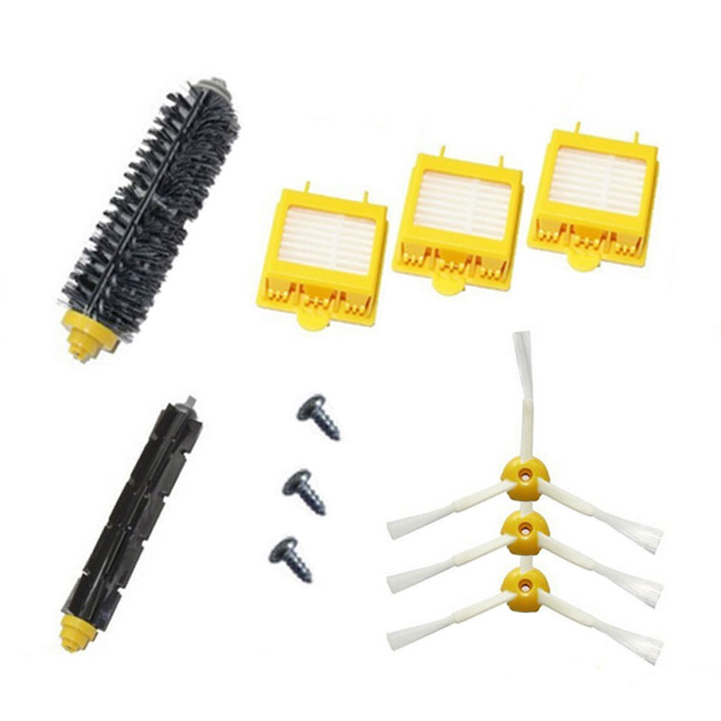 3 Hepa Filter + Side Brush + Screw +1 Bristle Flexible Beater Brush for iRobot Roomba 700 Series 770 780 790 Cleaer Accessory(China (Mainland))