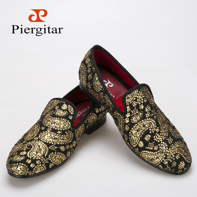 Piergitar золото кешью цветы печатает бархатные туфли ну вечеринку и свадебные мокасины ...