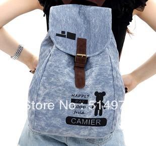 Best Selling!!2013 new fashion women canvas backpack cartoon print rucksack ladies travel bag Free Shipping