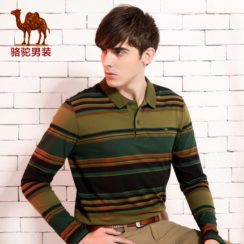 2015 CAMEL Brand new fashion casual business striped t-shirt long sleeve t shirt menОдежда и ак�е��уары<br><br><br>Aliexpress