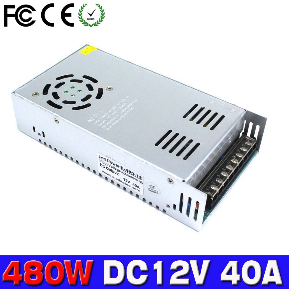 Small Volume 12V 40A 480W Switching power supply Driver For LED Light Strip Display 110v 220v AC DC12V SMPS Factory Supplier(China (Mainland))