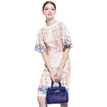 2016 Italy Sicily Summer&Spring Fashion Brand Print Flower Appliques Peach Flower Flare Sleeve Silk Slim Casual  Dress For Women(China (Mainland))