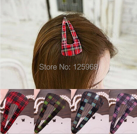 Free Shipping 2014 New Wholesale 20pcs Lot Cute Girls font b Tartan b font triangle Hair