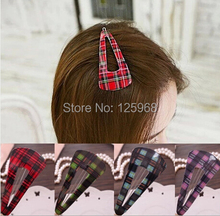 Free Shipping 2014 New Wholesale 20pcs/Lot Cute Girls Tartan triangle Hair Clip Fashion Hairgrips Hair Accessories