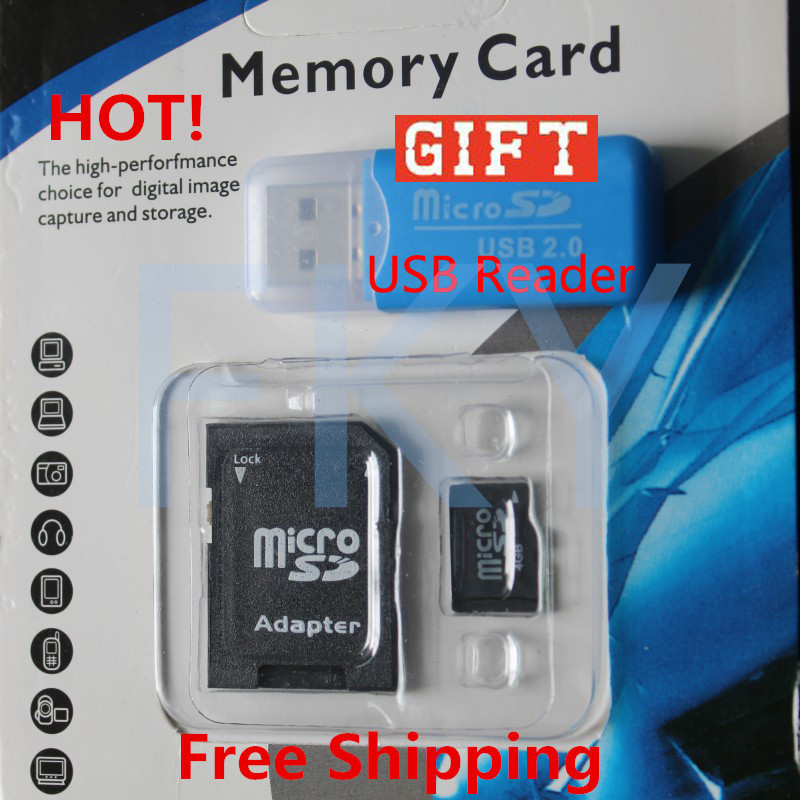 Freeshipping Wholesale Micro SD card SDHC 128mb-64gb Transflash TF Memory card +SD transfer adapter+Free Gift memory card reader<br><br>Aliexpress