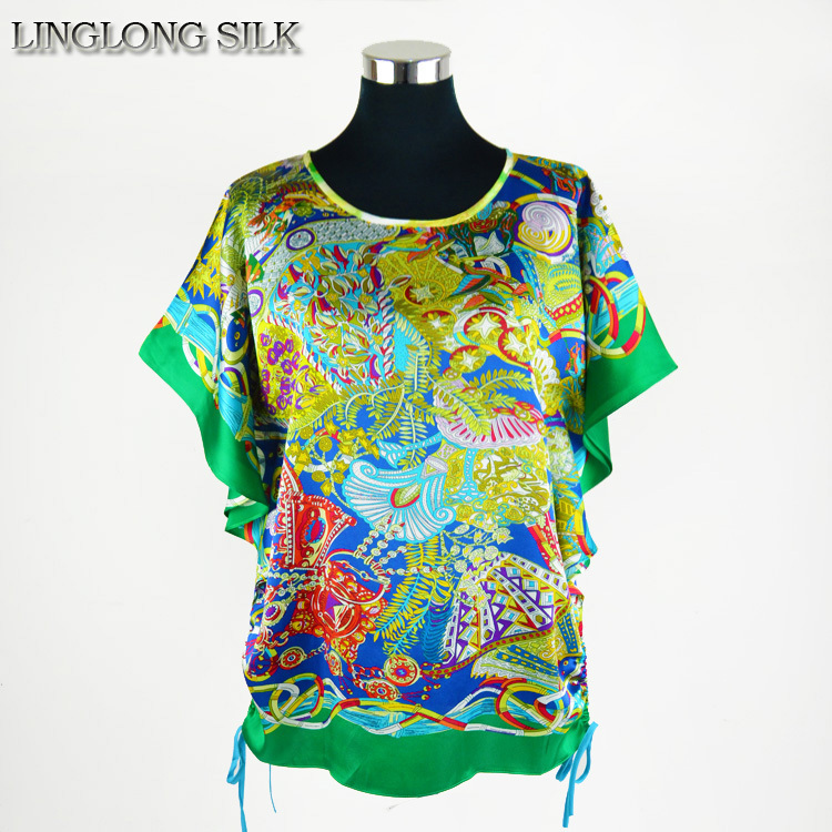 Silk Butterfly Shirt 100% Natural Silk Digital Printed Women T-Shirt 2015 New Female Clothing XXXL Causal Fashion Tops(China (Mainland))
