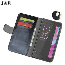 Leather Case Sony E5 Wallet Cover Xperia F3311 F3313 5.0 Inch J&R Mobile Phone Bags & Cases Card Slots - KKCASE store