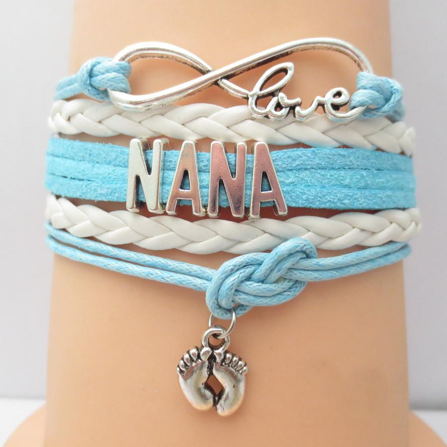drop shipping infinity blue wax wrap bracelets fashion love NANA bracelets hot sale girl bangle customise(China (Mainland))