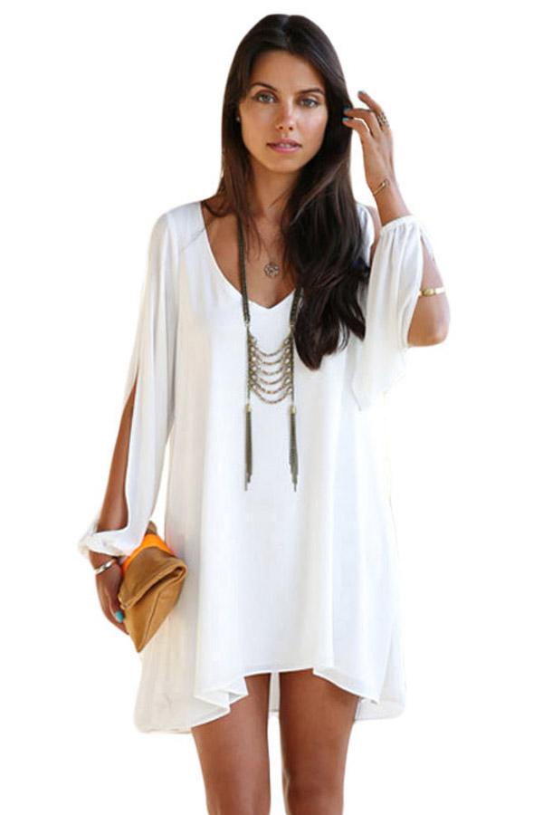 WomensDate Wholesale Fashion Beach Casual Women Mini font b Dress b font White Chiffon Leisure Mini