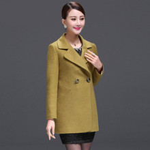 2016 new autumn middle size wool coat collar wool coat temperament V slim gir