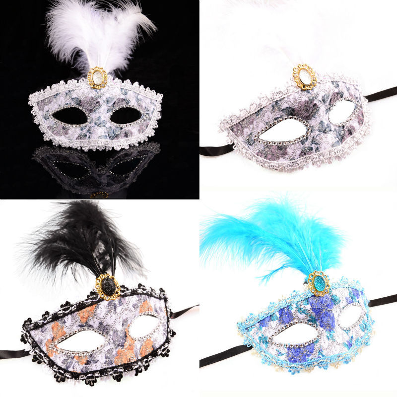 Fashion Halloween Feather Party Phantom Of The Opera Mask White and Black Colors Available Wholesale 12pcs/lot Z13T10C(China (Mainland))