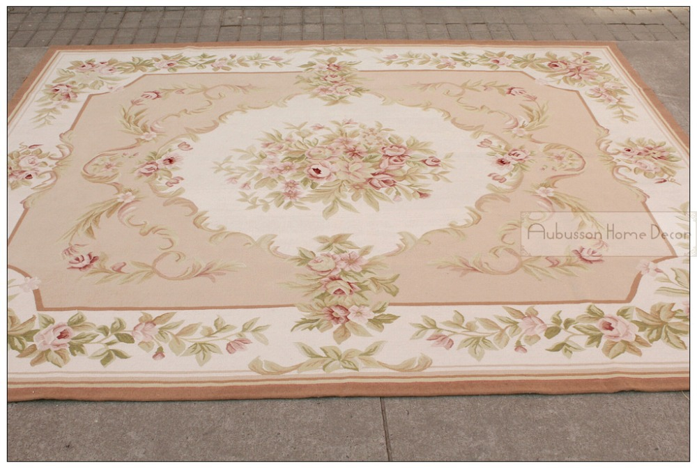 8 X10 Wool Hand Woven Shabby Chic French Style Aubusson