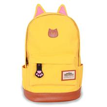 Cute Cat Ear Cartoon Canvas Backpack For Women Girls Satchel School Bags Rucksack School Backpack children school book bags(China (Mainland))