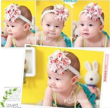 2 Colors Free Shipping Baby Chiffon Flower Headband Girls Lace Headband Infant Knitting Hair Weave Baby