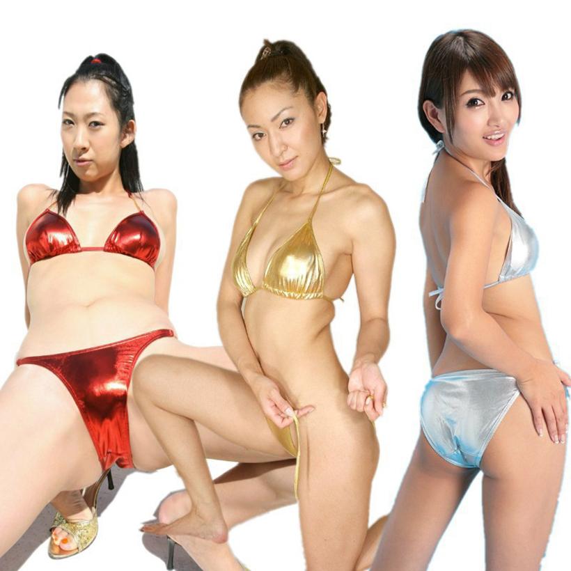 Hot Selling 2016 New Fashion Women Sexy Faux Leather Bikini Set Wet Look Gold Silver Adult Sexy Lingerie Set Metallic Bikini Set(China (Mainland))