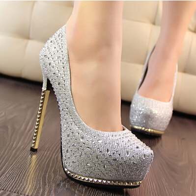 2015 wedding shoes women's shoes high heels heels thin female shoes crystal gold heels bridal shoes diamond pumps(China (Mainland))