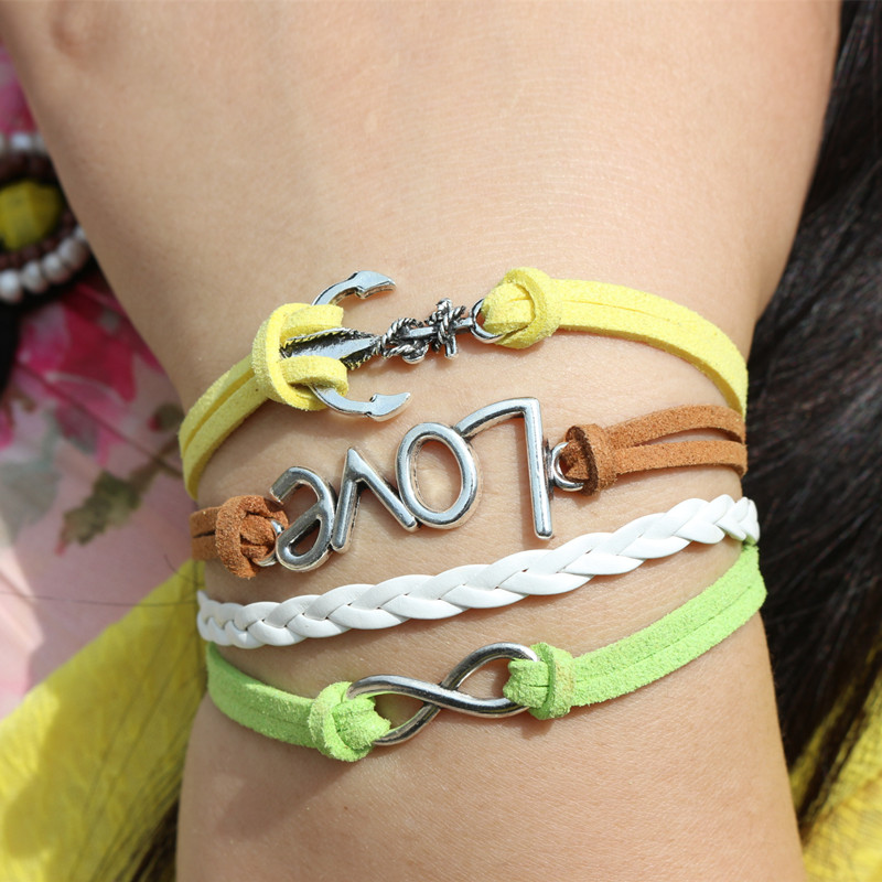 L0208 Owl Anchor Love Metal Leather Bracelets Multilayer Rope Bangle Fashion Jewelry Women Accessories - BILL JEWELRY CO,.LTD Min order $8 store