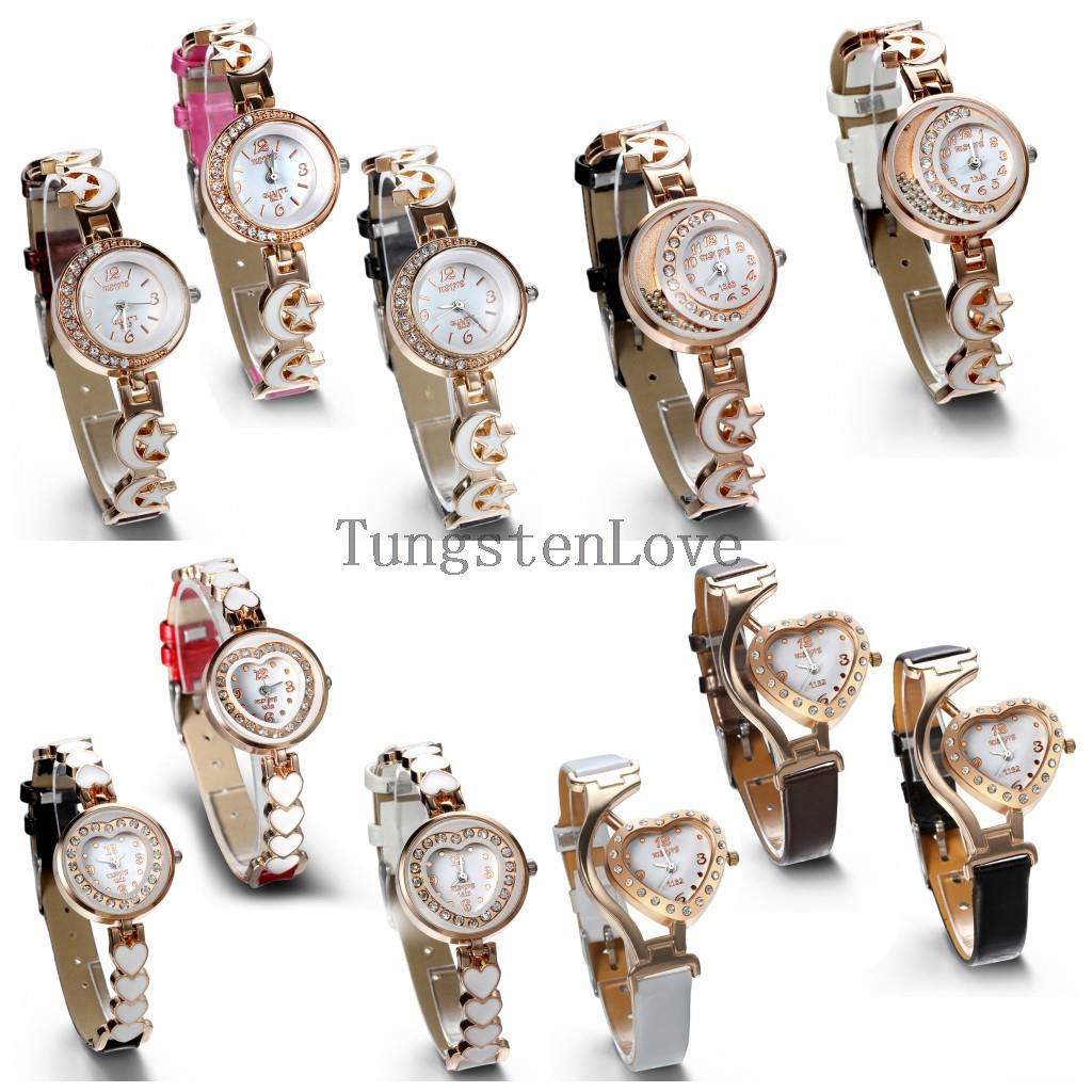2015 New Brand Watch Fashion Leather Watch Women Ladies Crystal Quartz Dress Watch Wristwatches Round & Heart relogios femininos(China (Mainland))